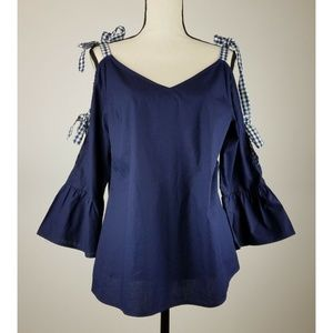 Skies Are Blue Blouse Cold Shoulder Blue A72-01P